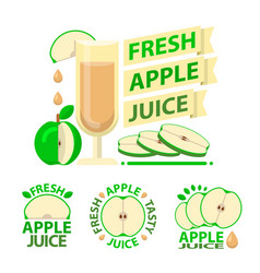 green apple juice badge emblems vector image