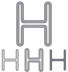 Green letter h logo design set vector