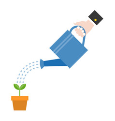 Hand holding watering can watering plant vector