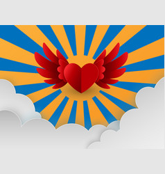 happy valentines day card with red hearts flying vector image
