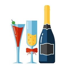 icon alcohol drinks and glassess vector image