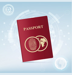 identification document with fingerprint vector image