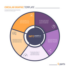 Infographic circle chart template five vector
