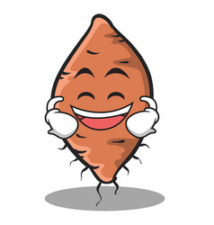 Laughing face yam character cartoon style vector