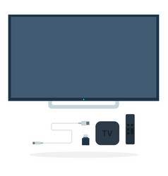 lcd tv with set-top box remote control flash vector image