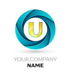 letter u logo symbol in the colorful circle vector image