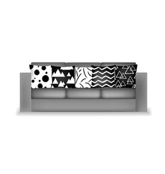 light gray fabric three-seat modern sofa vector image