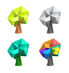 Low poly polygonal tree Abstract Logo design vector