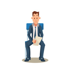 Male candidate sit on chair before job interview vector