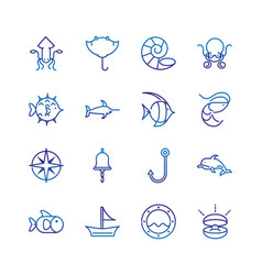 marine life nautical sea animals and equipment vector image