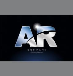 Metal blue alphabet letter ar a r logo company vector