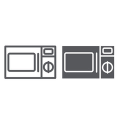 microwave line and glyph icon cooker and vector image