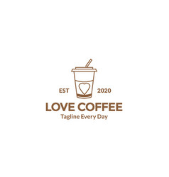 Minimalist coffee cup with love design vector