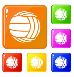 Modern volleyball icons set color vector