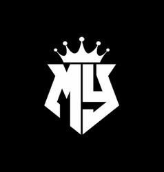 my logo monogram shield shape with crown design vector image