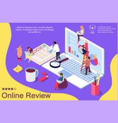 online review concept with characters can use for vector image
