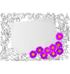 paper card with wild flowers vector image