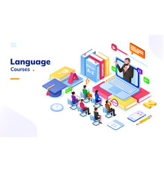 People at foreign international language courses vector