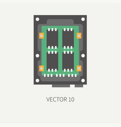 Plain flat color computer part icon data vector