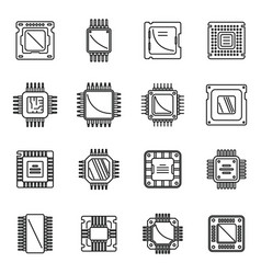 Processor icons set outline central vector