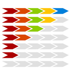 Progress step level indicators with 5 steps arrows vector