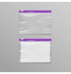 Purple Sealed Transparent Plastic Zipper Bags vector image