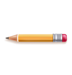 realistic yellow wood pencil rubber eraser vector image