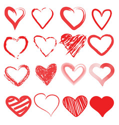 red heart hand drawn icon cute cartoon doodle lo vector image