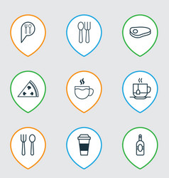 restaurant icons set with disposable tea alcohol vector image