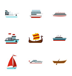 Sailing icons set flat style vector