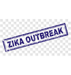 Scratched zika outbreak rectangle stamp vector