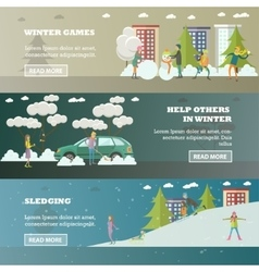 Set of winter activities concept banners in vector