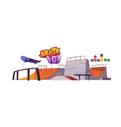skate park ramps skateboard and graffiti letters vector image