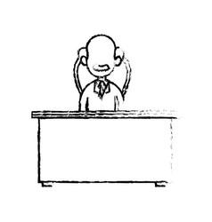 Sketch doctor male sitting desk work hospital vector