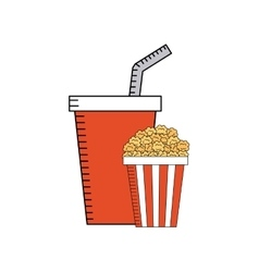 soda drink with cinema icon vector image