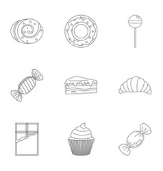 sweet desserts icon set outline style vector image