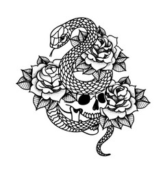 Tattoo with roses and snake skull with sacred vector