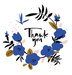 Thank you card in wreath blue abstract flowers vector