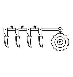tractor plow icon outline style vector image