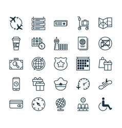 Travel icons set collection of takeaway coffee vector