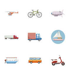 types of transport icons set cartoon style vector image