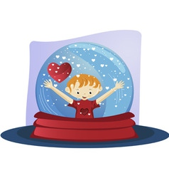 Valentines day glass globe vector