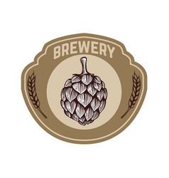 Vintage beer label with hop design elements for vector