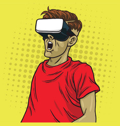 virtual reality goggle glasses pop art vector image