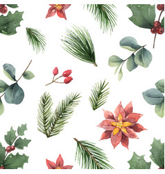 Watercolor christmas seamless pattern vector