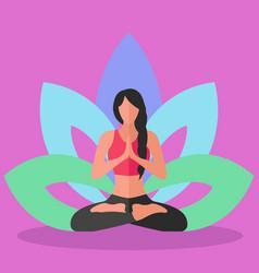 Woman doing yoga lotus position inner peace vector