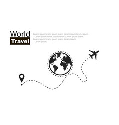 World travel travel roundtrip plane routes in vector