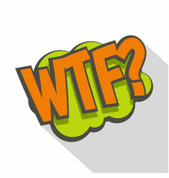 Wtf comic text sound effect icon flat style vector