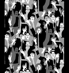 big crowd happy people black and white seamless vector image vector image