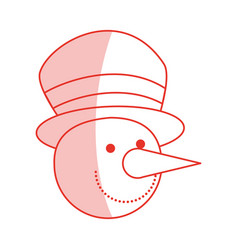 red shading silhouette of face of snowman with hat vector image